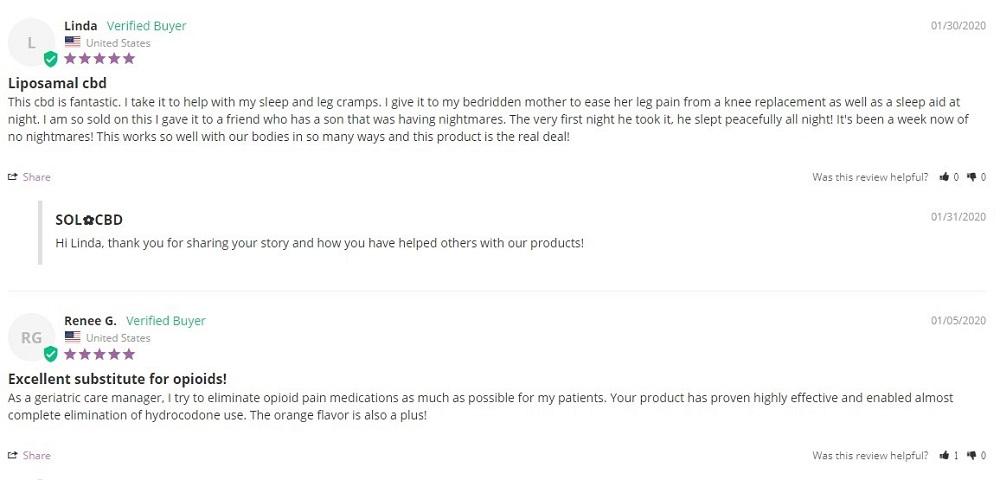 Sol CBD Liposomal CBD reviews