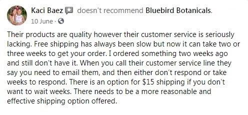 Bluebird Botanicals Customer Review