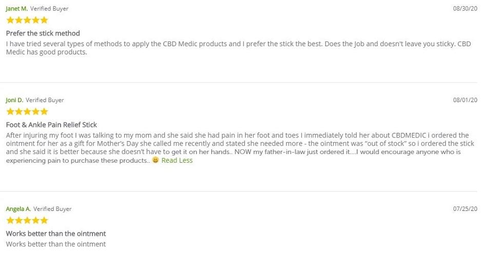 CBDMedic CBD Foot Related Products Customer Reviews