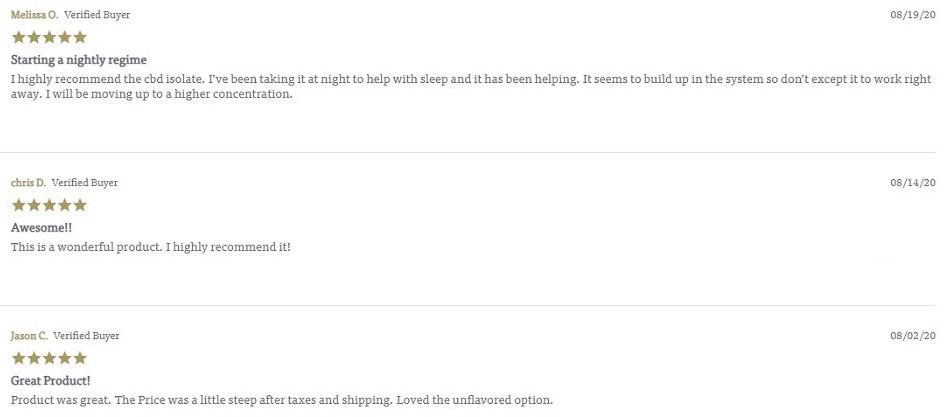 Charlottes Web CBD Isolate Customer Reviews