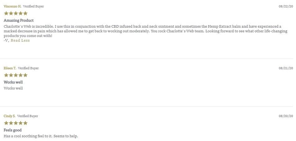 Charlottes Web CBD Topiclas Customer Reviews