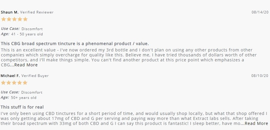Extract Labs Broad Spectrum CBD Tincture Customer Reviews
