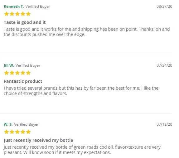 Green Roads Broad Spectrum CBD Oil Customer Reviews
