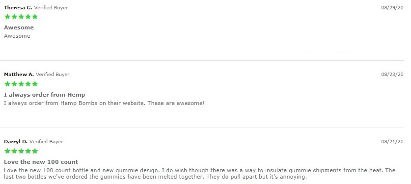 Hemp Bombs CBD Gummies Customer Reviews