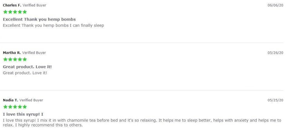 Hemp Bombs CBD Syrup Customer Reviews