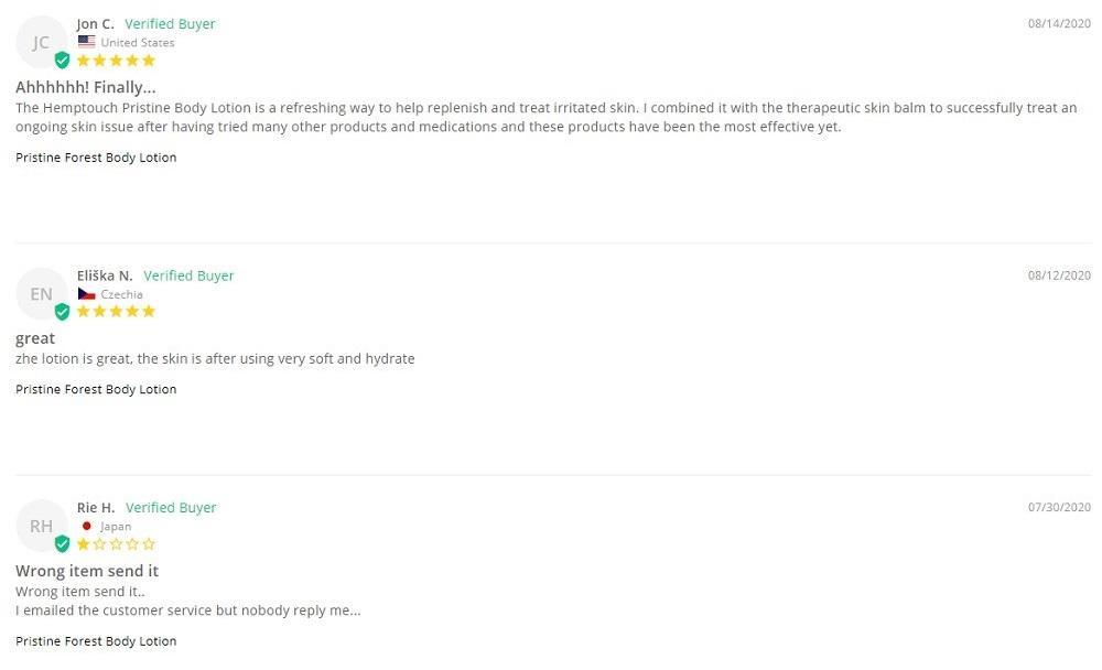 Hemptouch CBD Body Care Customer Reviews