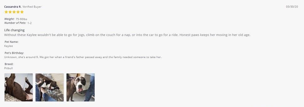 Honest Paws CBD Mobility Soft Chews Customer Review