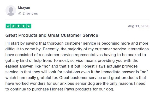 Honest Paws Customer Review 4