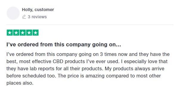 JustCBD Customer Review 5