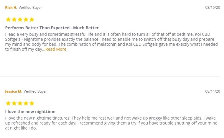 Koi CBD Capsules Customer Reviews