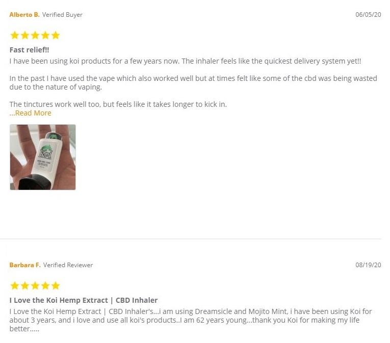 Koi CBD Inhaler Customer Reviews