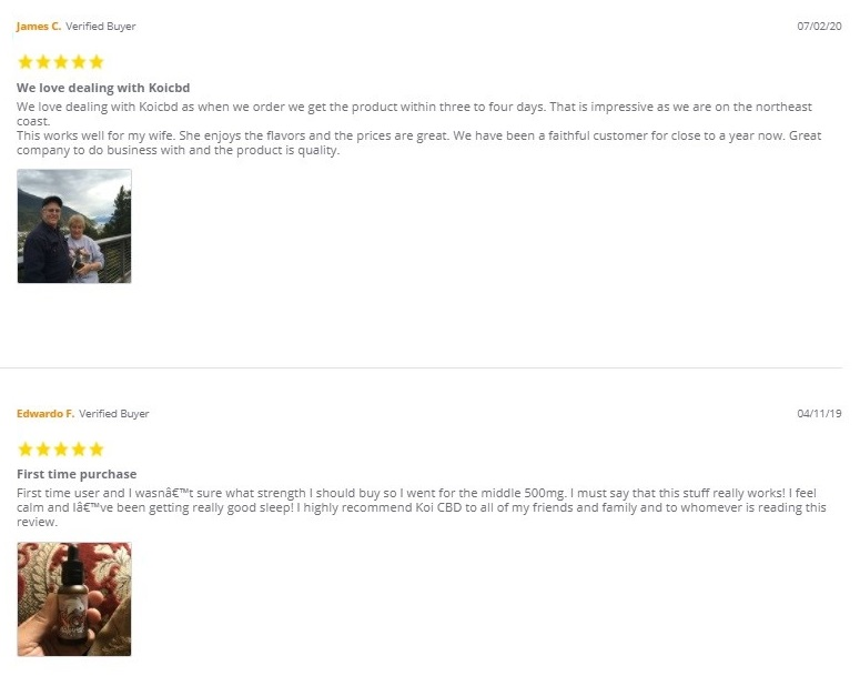 Koi CBD Oil Tinctures and Shots Customer Reviews
