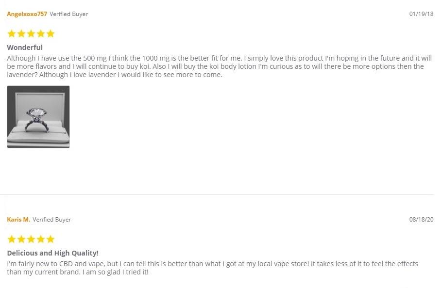Koi CBD Vape and Hemp Flower Customer Reviews