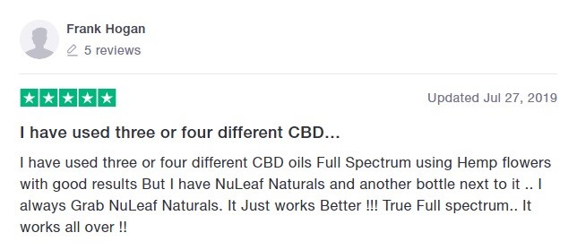 Nuleaf Naturals Customer Review