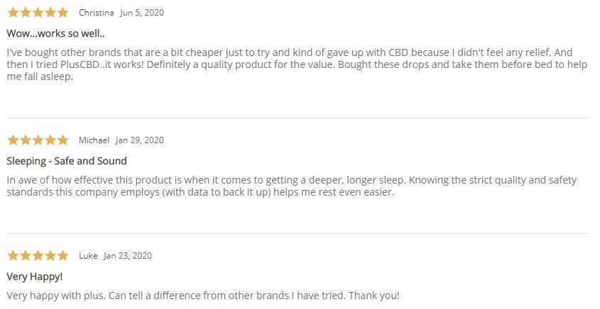 Plus CBD Oil CBD Drops Gold Customer Reviews