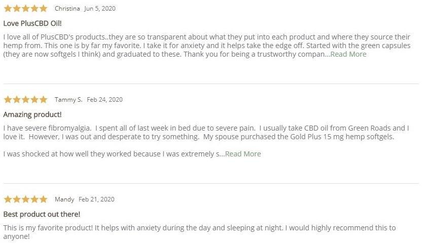 Plus CBD Oil CBD Softgels Gold Customer Reviews