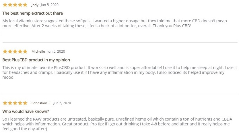 Plus CBD Oil CBD Softgels Raw Customer Reviews