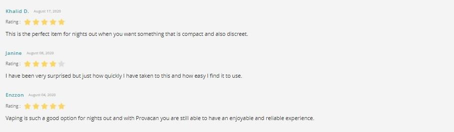 Provacan CBD eLiquid Customer Reviews