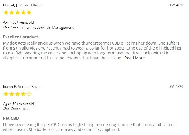Pure Relief CBD For Pets Customer Reviews