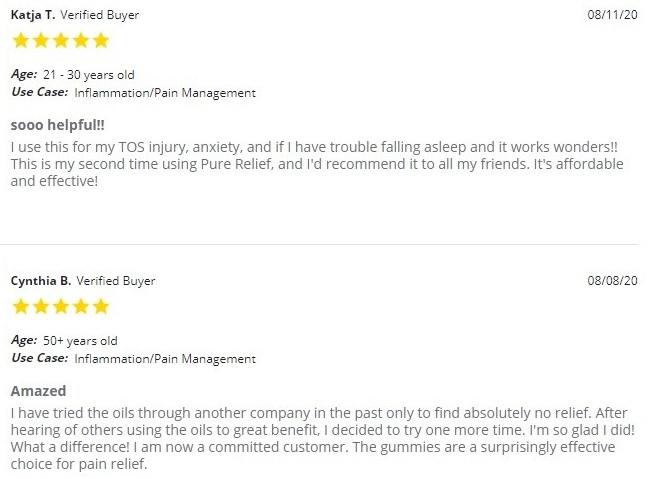 Pure Relief Full Spectrum Mint CBD Oil Customer Reviews
