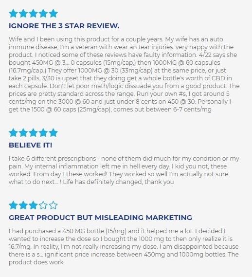 cbdMD CBD Capsules Customer Reviews