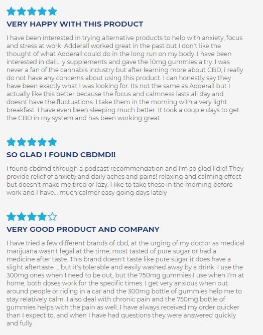 cbdMD CBD Gummies Customer Reviews