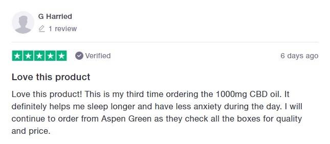 Aspen Green CBD Customer Review 3