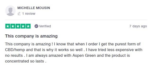 Aspen Green CBD Customer Review 6