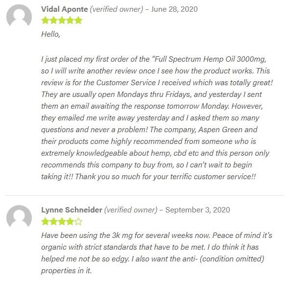 Aspen Green CBD Oil Customer Reviews
