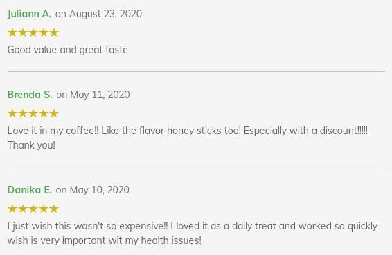 Diamond CBD Honey Sticks Customer Reviews