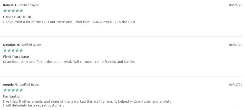 Farmacy Bliss CBD Oil Customer Reviews