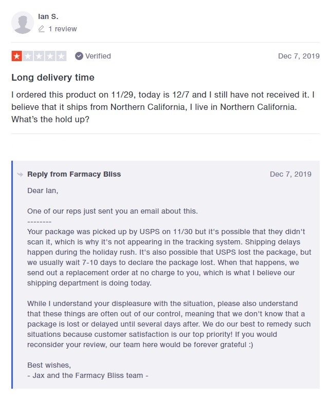 Farmacy Bliss Customer Review