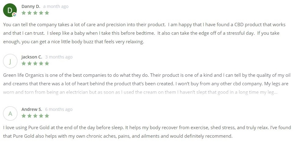 Greenlife Organics Pure Gold CBD Oil for Sleep Customer Reviews