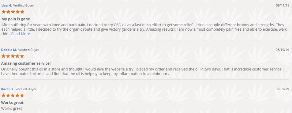 Hemp Victory Garden Hemp Oil Tincture Customer Reviews