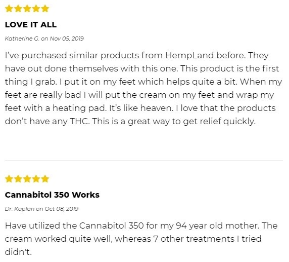 Hempland USA CBD Topicals Customer Reviews