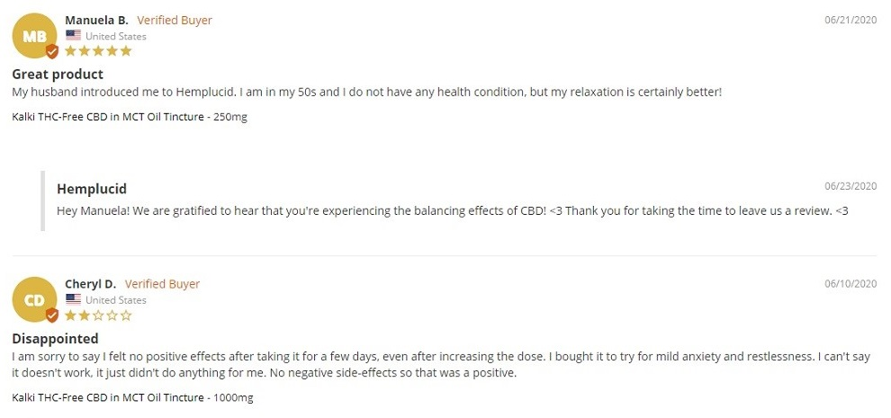 Hemplucid CBD Oil Tinctures Customer Reviews