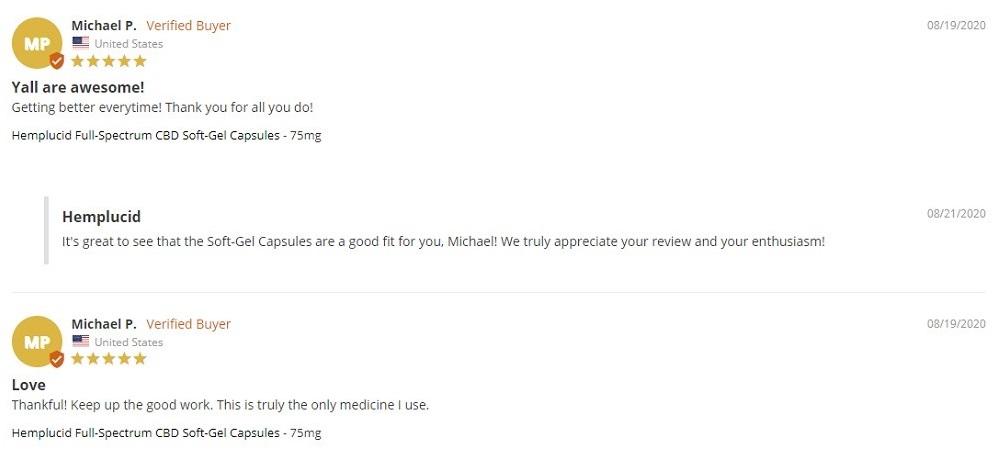 Hemplucid CBD Softgels Customer Reviews