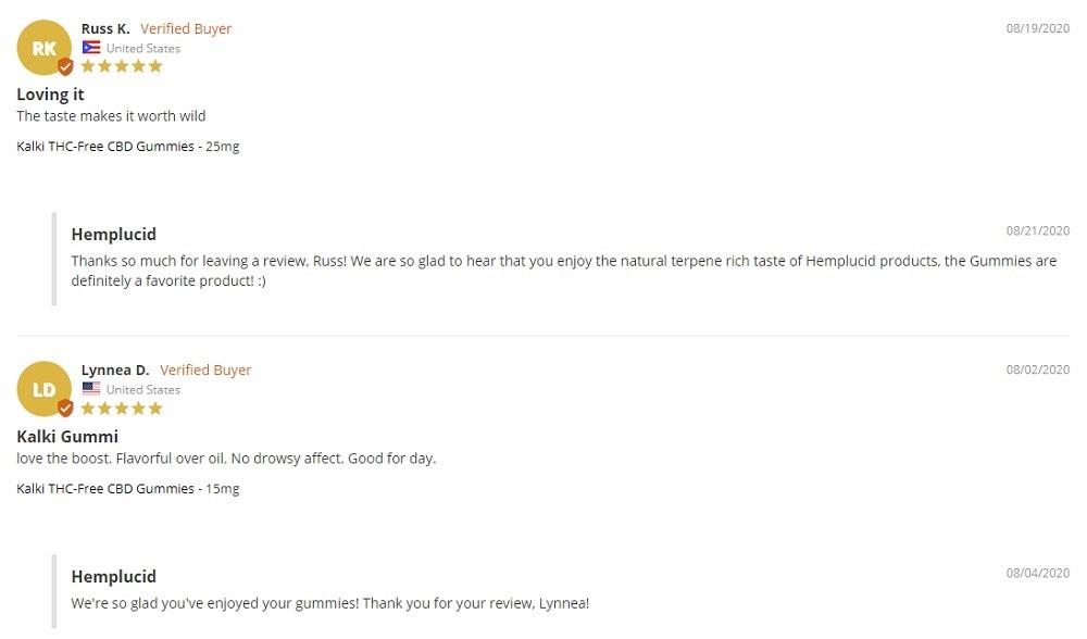 Hemplucid Kailki THC Free Gummy Bears Customer Reviews