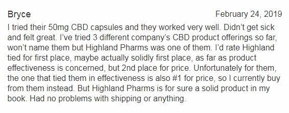 Highland Pharms Customer Review 4