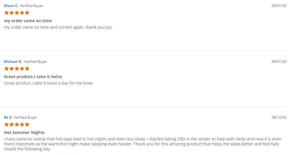 Joy Organics CBD Capsules Customer Reviews
