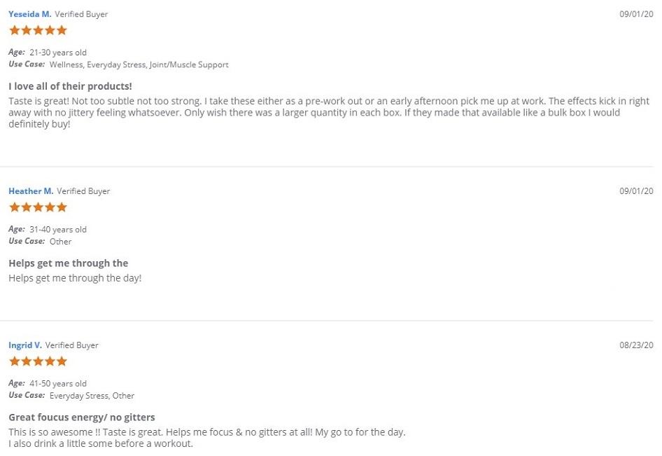 Joy Organics CBD Energy Drinks Customer Reviews