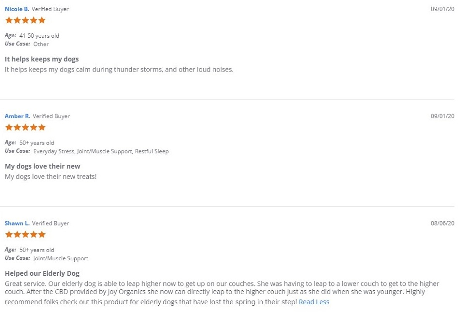 Joy Organics CBD For Pets Customer Reviews