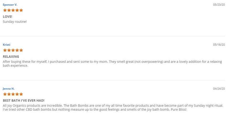 Joy Organics CBD Topicals Customer Reviews