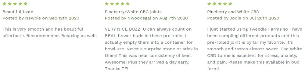 Tweedle Farms CBD Prerolled Joints Customer Reviews
