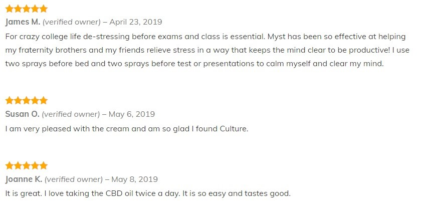 Culture for Good Myst Whole Flower CBD Customer Reviews