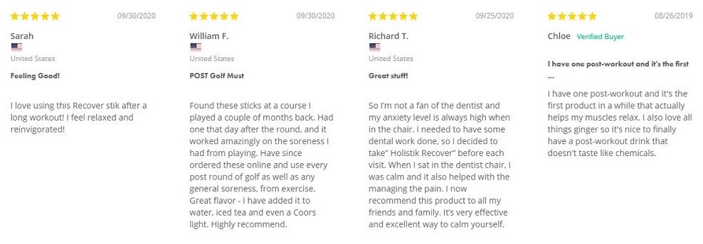 Holistik Wellness Recover Stik Customer Reviews