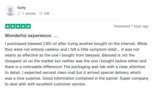 Blessed CBD Customer Review 5