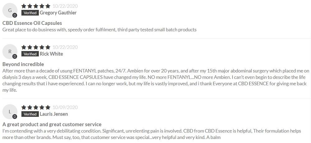 CBD Essence CBD Capsules Customer Reviews