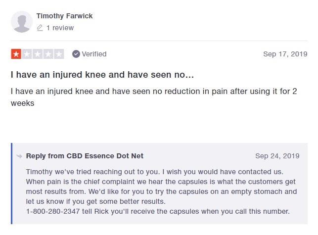 CBD Essence Customer Review 2