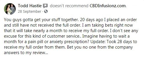 CBD Infusionz Customer Review 2
